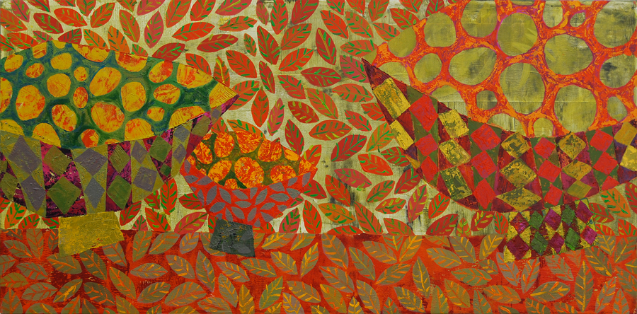 Three Bowls on Fire 2012, Acrylic 60 x 120, Sold