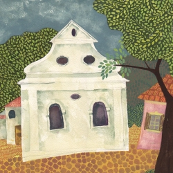 Synagogue in Lomnice, Czech Rep. Gouache @ Chanan Mazal, 2012