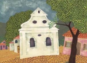 Synagogue in Lomnice, Czech Rep. Gouache @ Chanan Mazal, 2012