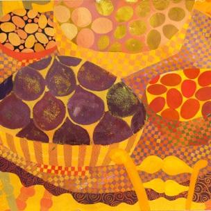 Ornamental, decorative, patterned still-life in gouache by artist Chanan Mazal