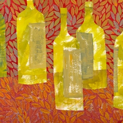 Gouache painting of bottles by Chanan Mazal