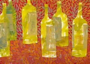 Gouache painting of bottles by Chanan Mazal