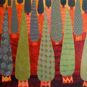 Acrylic painting of cypresses by Chanan Mazal