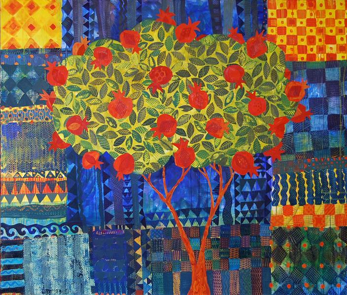 Pomegranate Tree 2013 עץ רימון painting by Chanan Mazal