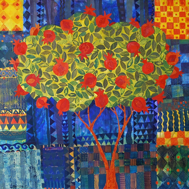 Pomegranate Tree, oil painting by Chanan Mazal. עץ רימון, ציור שמן של חנן מזל
