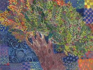 Olive tree painting by Chanan Mazal, Jerusalem 2014. ציור עץ זית, חנן מזל, ירושלים