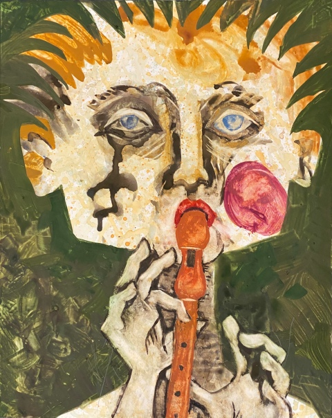 Gouache painting of a boy playing the recorder, 2019 Chanan Mazal, Jerusalem. חנן מזל