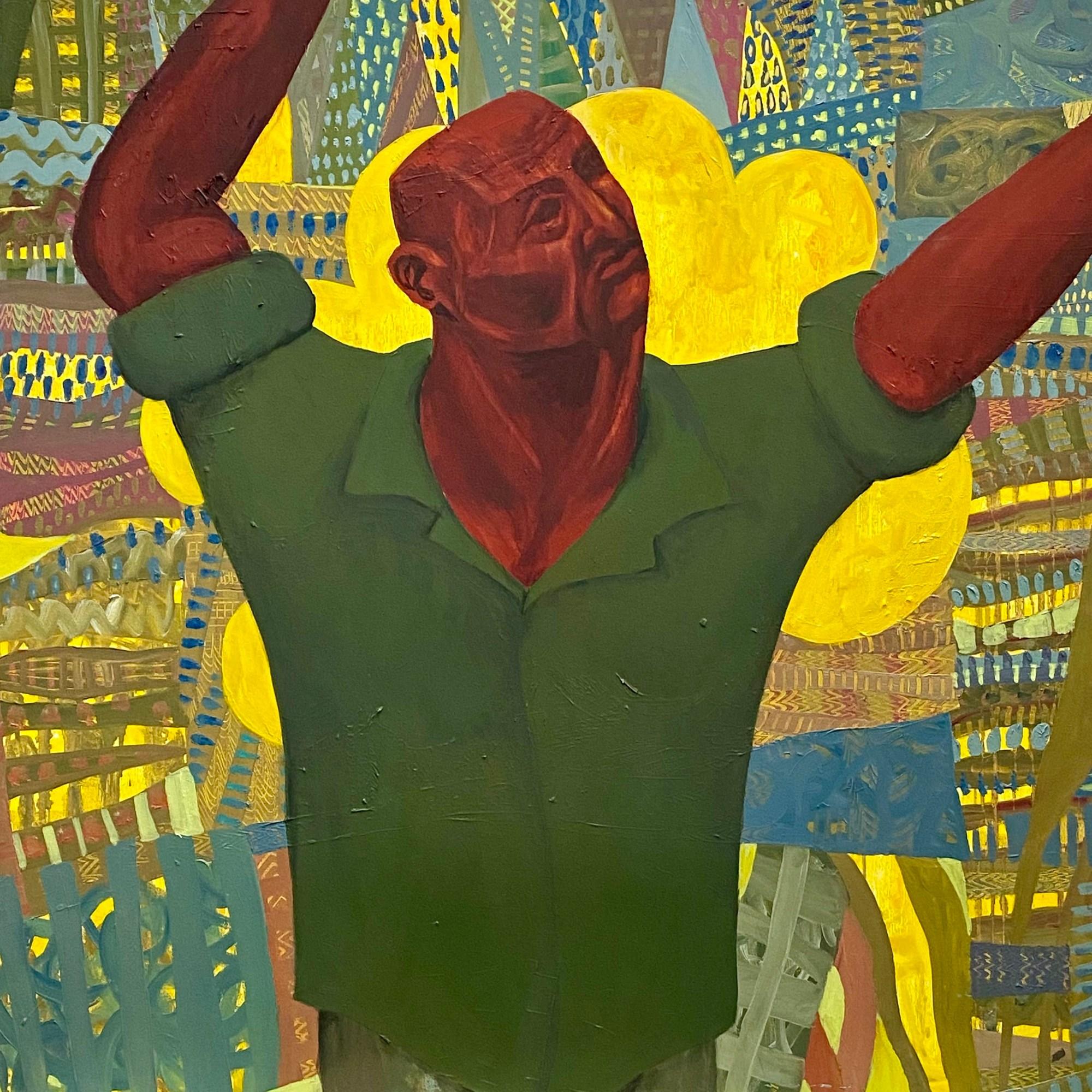 """קטיף עמירים 2020 שמן על בד 100 / 100 ס""""מ Picking High Fruit 2020. Oil on canvas 100 x 100 cm"""