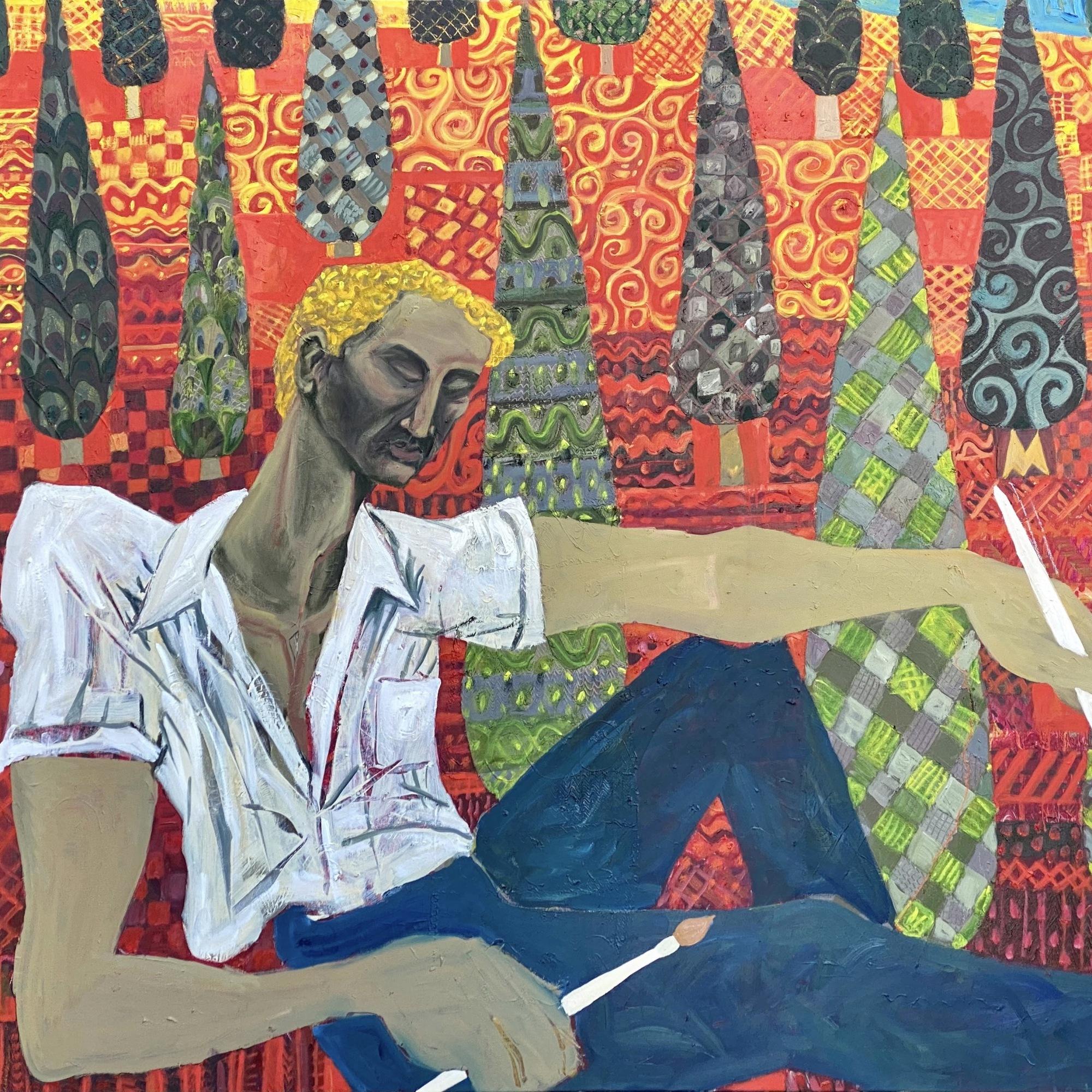 """מנוחת העמל 2021. שמן על בד 120 / 140 ס""""מ The Laborer's Rest 2021. Oil on canvas 120 x 140 cm"""