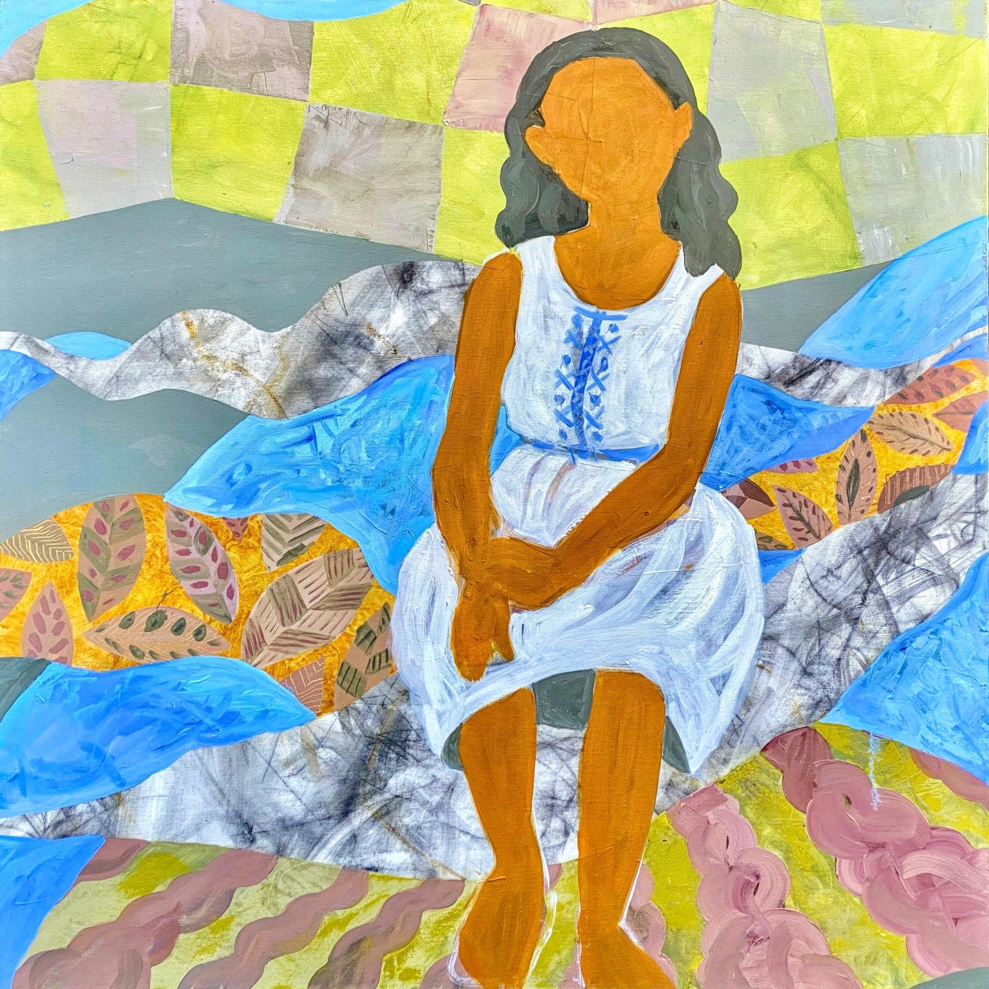 תלמידה בכנרת 2020. שמן על בד 100 / 100 ס״מ Kinneret School Girl 2020. Oil on canvas 100 x 100 cm