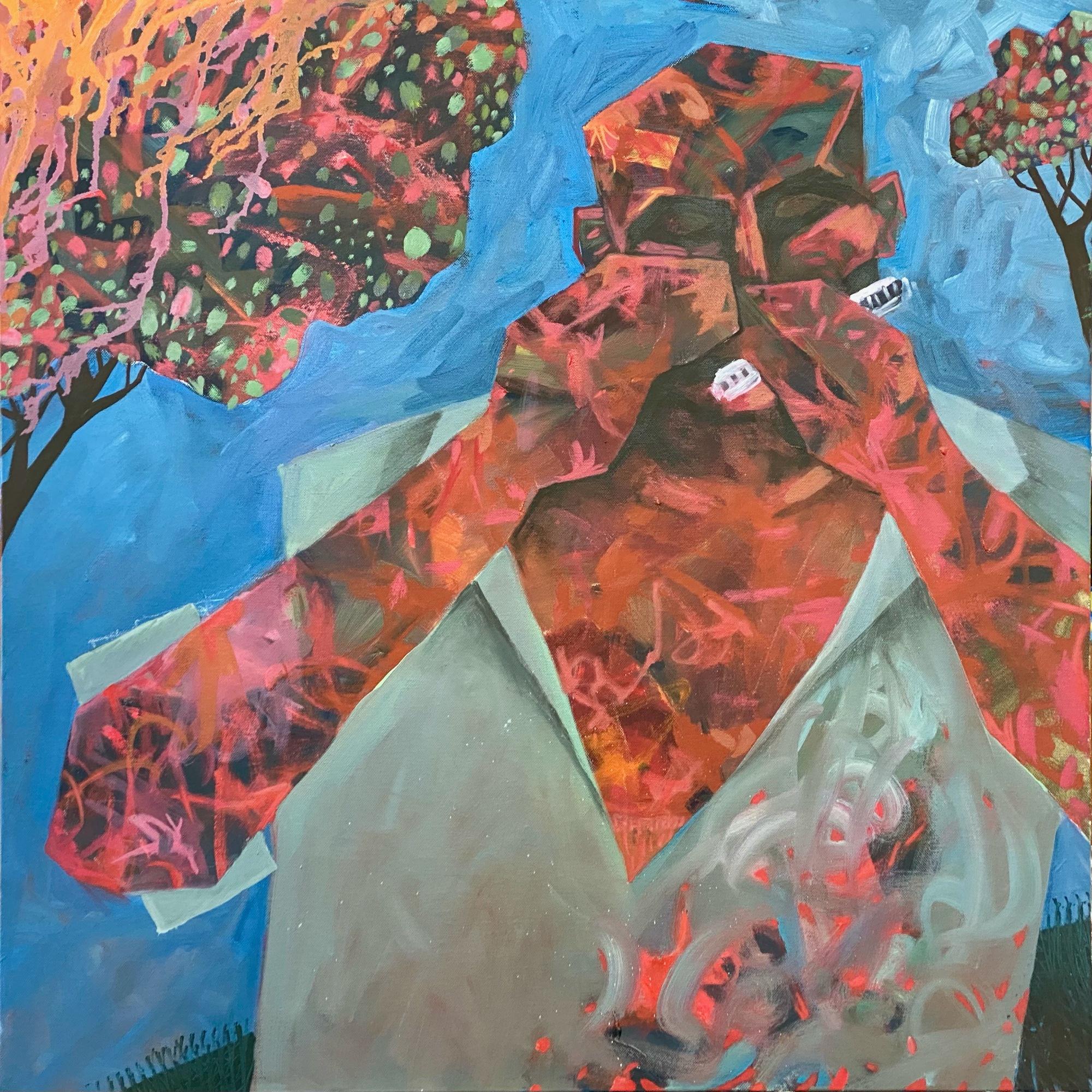 """נגן מפוחית 2021. שמן 70 / 70 ס""""מ Harmonica Player 2021. Oil on canvas 70 x 70 cm"""